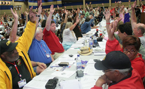 CWA Delegates Voting at Convention