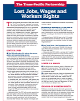 The TPP: Lost Jobs, Wages and Workers' Rights=
