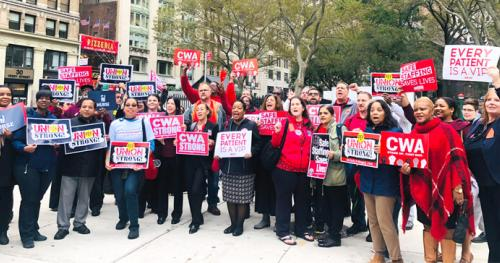 CWA members rallied outside a New York State Department of Health