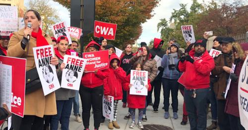 CWAers Protest Mass Arrests of Union Organizers in the Philippines